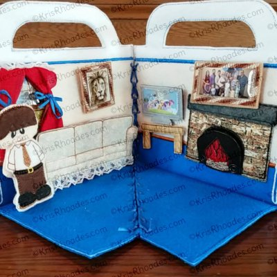 Quiet Book Dollhouse - 5x7 Living Room Embroidery Design