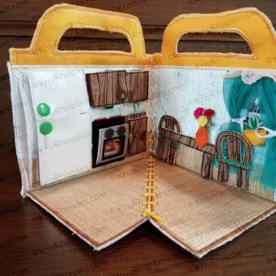 Quiet Book Dollhouse - 5x7 Kitchen Embroidery Design