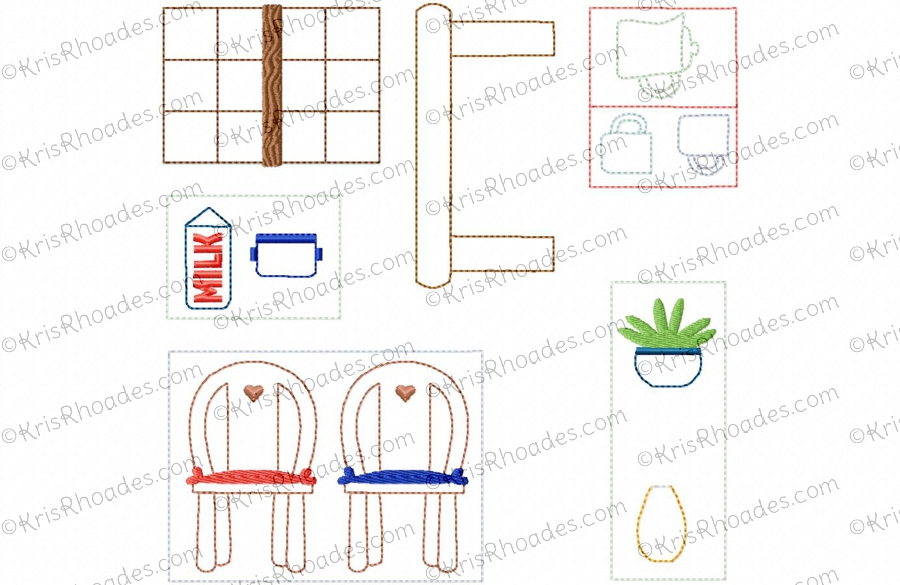 Quiet book dollhouse 8x8 kitchen embroidery design for 8x8 kitchen layout