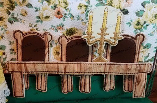 Quiet Book Dollhouse - 5x7 Dining Room Embroidery Design