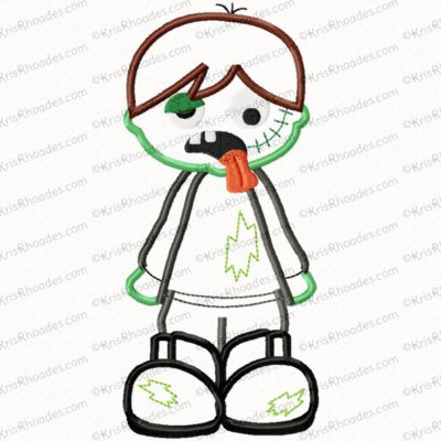 Zombie Boy Applique Embroidery Design