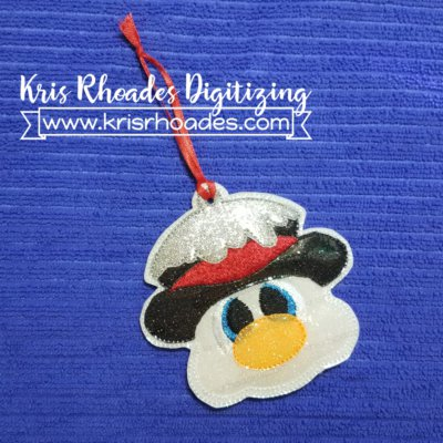 Snowman Face Ornament Embroidery Design