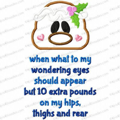 10 Extra Pounds Christmas Funny Poem Applique Embroidery Design