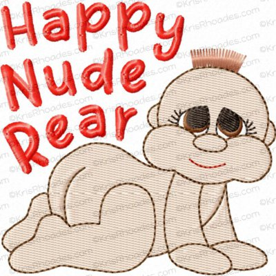 Happy Nude Rear Baby Toilet Paper Embroidery Design