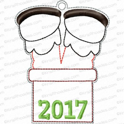 Santa in Chimney Ornament Embroidery Design