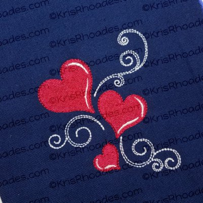 Hearts and Swirls Embroidery Design