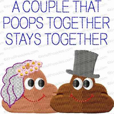 Bride and Groom Poop Toilet Paper Embroidery Design