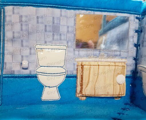 Quiet Book Dollhouse - 5x7 BathRoom Embroidery Design