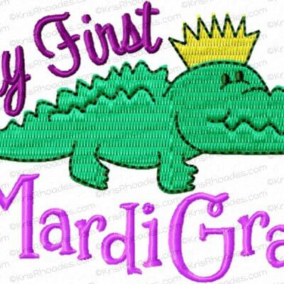 Baby's First Mardi Gras with Crocodile Embroidery Design