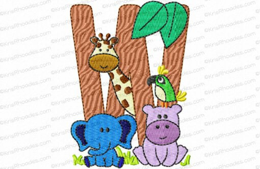Letter W Jungle-Safari-Zoo Embroidery Design