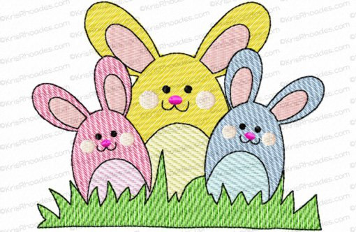 Bunny Trio Mylar Embroidery Design