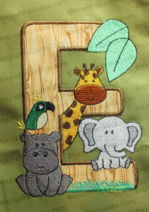 Letter E Jungle-Safari-Zoo Embroidery Design