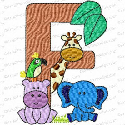 Letter F Jungle-Safari-Zoo Applique Embroidery Design