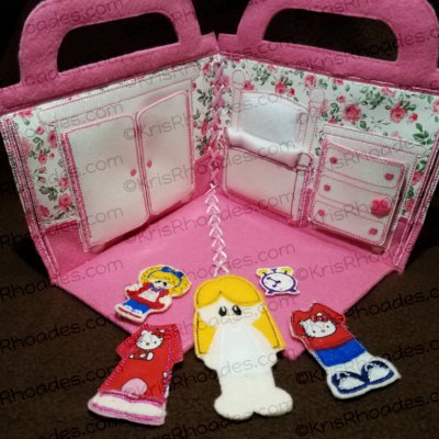 Quiet Book Dollhouse - 5x7 Bedroom B Embroidery Design