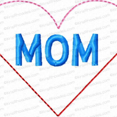 Heart Corner MOM Bookmark Embroidery Design
