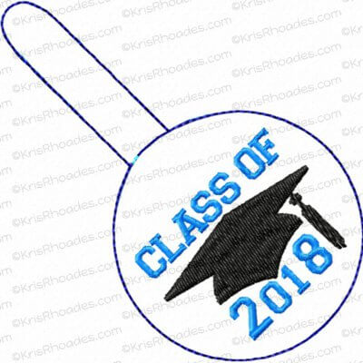 2.5 inch round Snap Tab Keyfob with Graduation Cap and Years 2018-2039 Embroidery Design