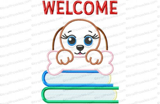 Welcome Banner with Dog and Bone