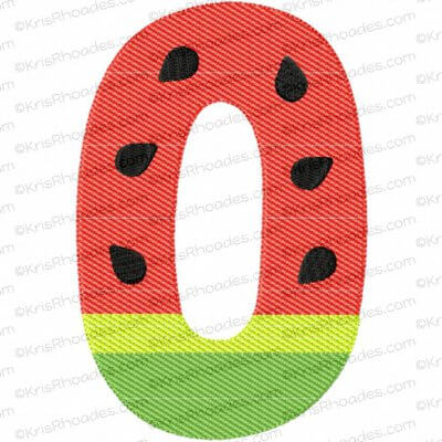 Watermelon Number 0 Mylar Embroidery Design