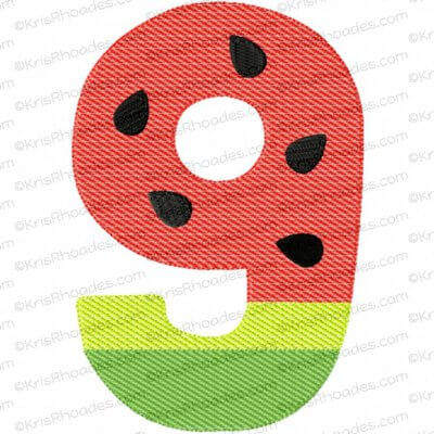 Watermelon Number 1 Mylar Embroidery Design