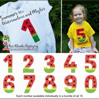 Watermelon Numbers Mylar Bundle Embroidery Design