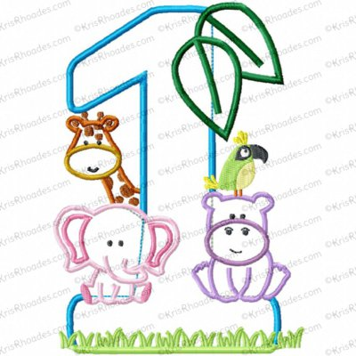 Jungle-Safari-Zoo 1st Birthday Applique Embroidery Design