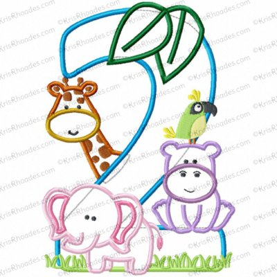 Jungle-Safari-Zoo 2nd Birthday Applique Embroidery Design