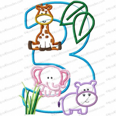 Jungle-Safari-Zoo 3rd Birthday Applique Embroidery Design