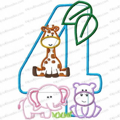 Jungle-Safari-Zoo 4th Birthday Applique Embroidery Design