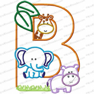 Letter B Jungle-Safari-Zoo Applique Embroidery Design