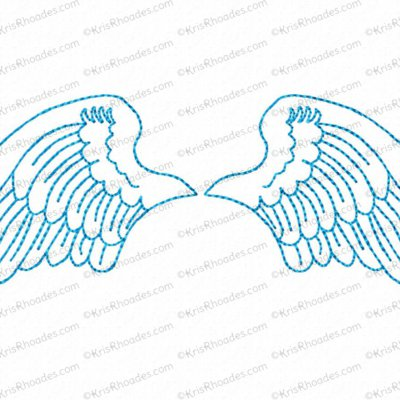 angel wings 5x7 outlined