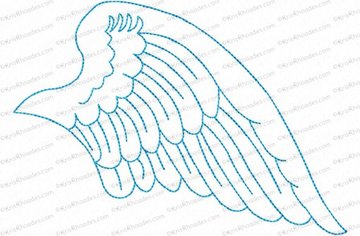 angel wings right 5x7 outlined
