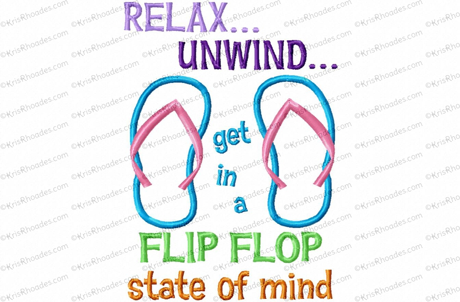 785dda16286 Flip Flop State of Mind Applique Embroidery Design