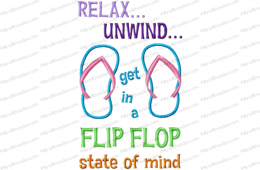2038ea13e2f9 Flip Flop State of Mind Applique Embroidery Design