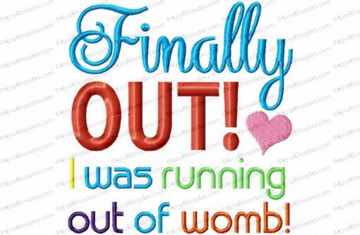 running out of womb 5x7 heart