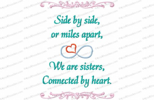 sisters connected by heart 5x7
