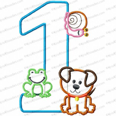 Frog-Snail-Puppy 1st Birthday Applique Embroidery Design