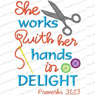 Proverbs 31:13 Scripture Subway Art Embroidery Design