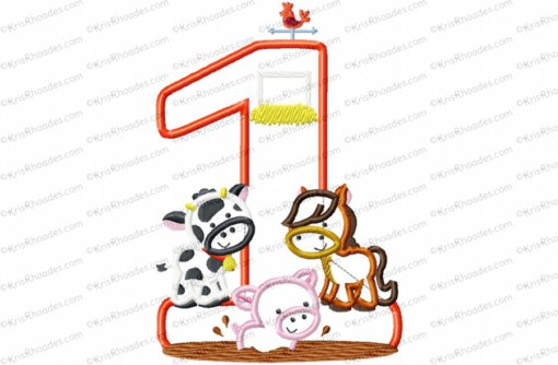 1 farm birthday number 5x7