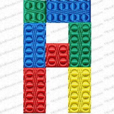 2 inch Building Block Font Embroidery Design