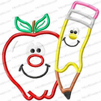 Apple and Pencil Applique Embroidery Design