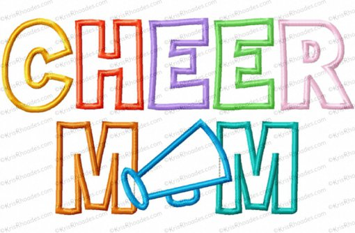Cheer Mom Applique Embroidery Design
