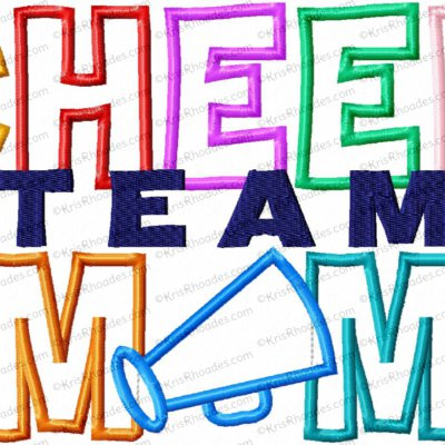 Cheer Team Mom Applique Embroidery Design