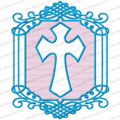 embossed cross 5x6 2 color