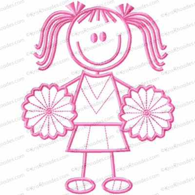 Stick Figure Cheerleader Girl Embroidery Design