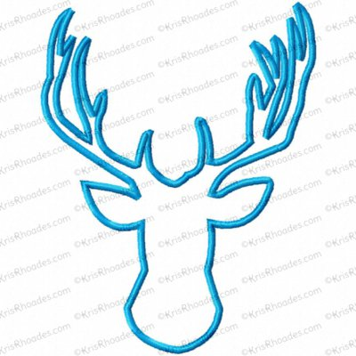 deer head applique 5x7