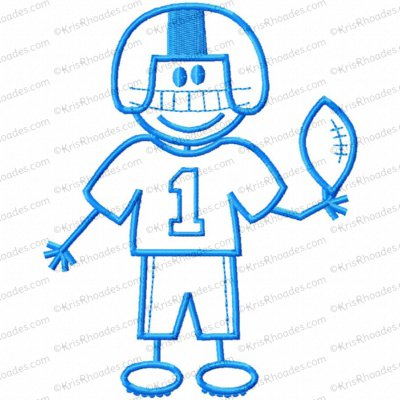 Stick Figure Football Player Boy Embroidery Design