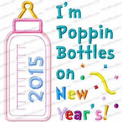 Poppin Bottles on New Years Applique Embroidery Design