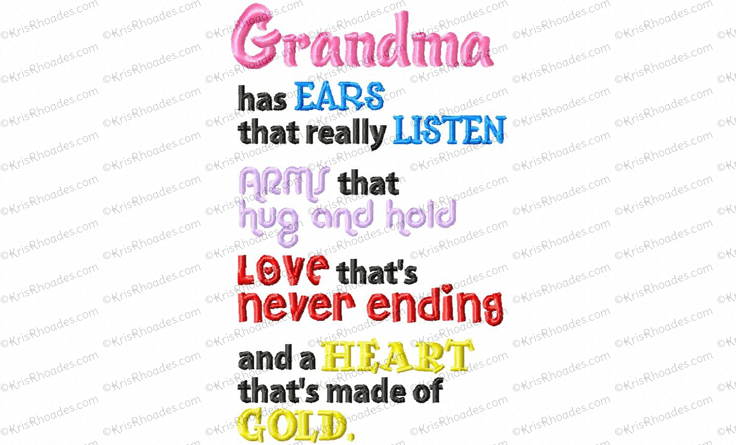 Grandma Heart Of Gold Embroidery Design