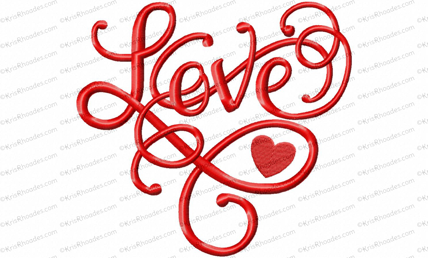 Love heart script embroidery design for Love in design