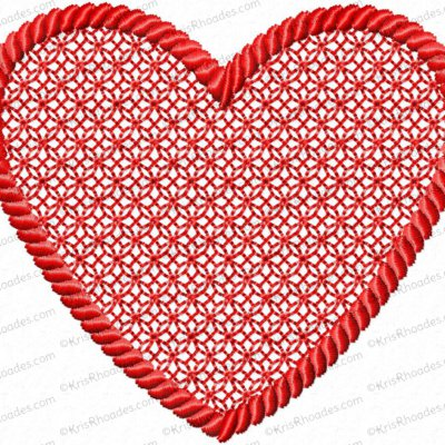 Embossed 3 inch Heart with Rope Outline Embroidery Design